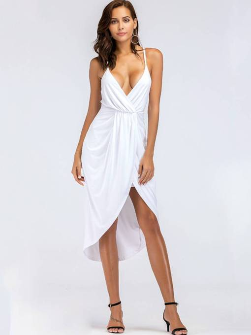 Asym Strappy Ruffled Women's Sexy Dress