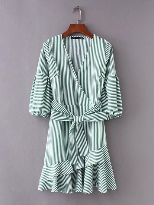 Green Striped Lace up Women's Day Dress