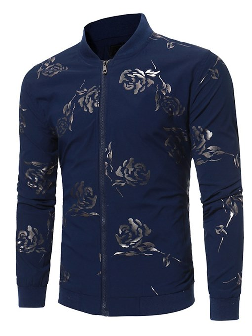 Zipper Rose Print Slim Men's Leisure Jacket