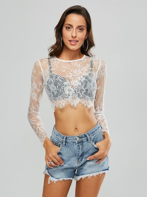 Sheer Lace Patchwork Women's T-Shirt