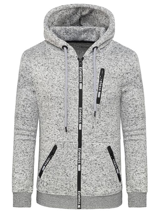 Hooded Patchwork Plain Men's Cardigan Hoodie