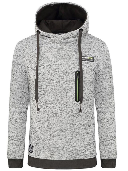 Hooded Solid Color Plain Men's Sweatshirt