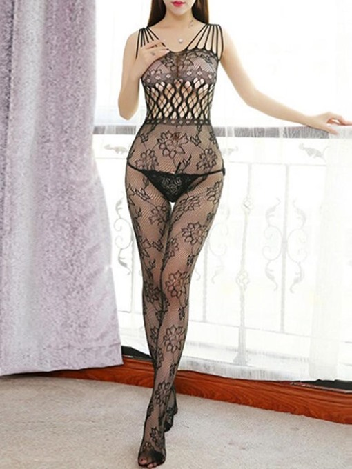Hollow Floral Open Crotch Pantyhose
