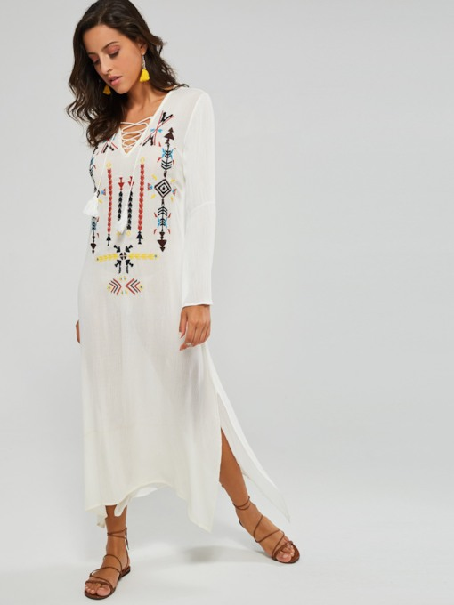 Long Sleeve Ethnic Pattern Women's Maxi Dress
