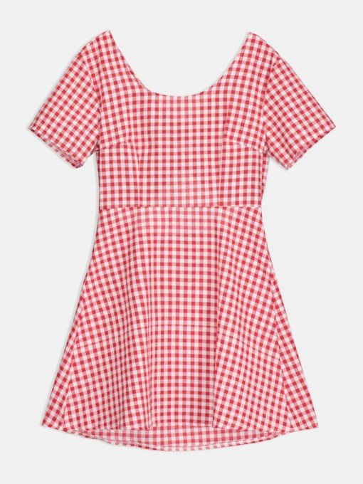 Knot Backless Plaid Women's Day Dress