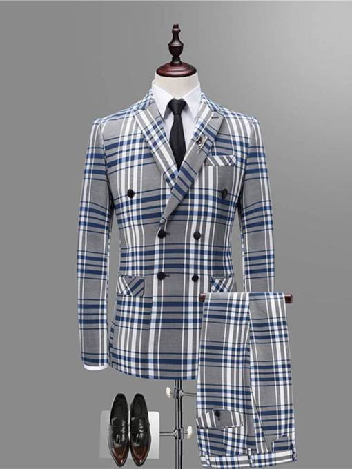Double Button Plaid Slim Men's Dress Suit