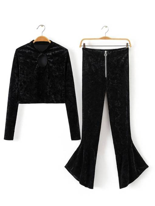 Velvet Top and Bellbottom Pants Women's Two Piece Set