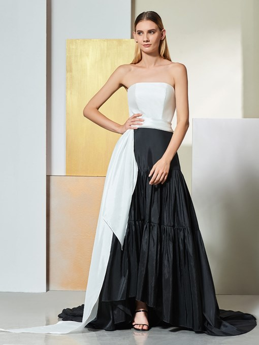 A-Line Strapless Draped Pleats Sashes Evening Dress