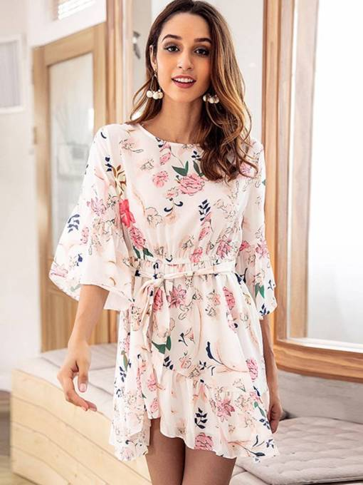 Ivory Floral Lace up Women's Day Dress