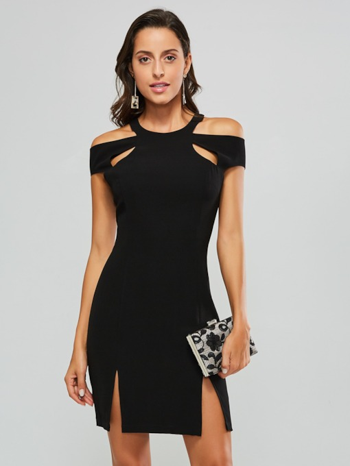 Black Short Sleeve Split Women's Sexy Dress