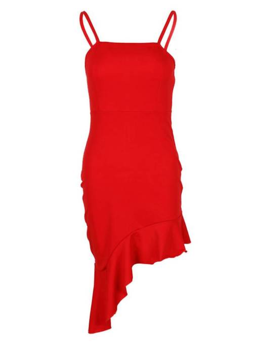 Summer Ruffle Sleeveless Plain Sexy Dress