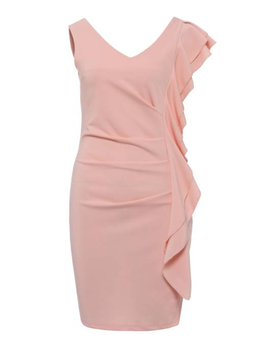 V-Neck Ruffle Neck Women's Bodycon Dress