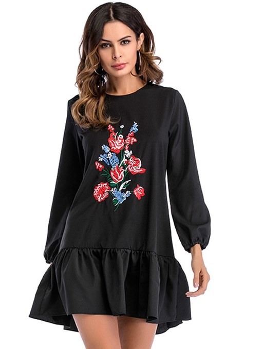 Black Appliques Loose Women's Long Sleeve Dress