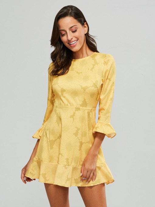 3/4 Sleeve Yellow Women's Sheath Dress