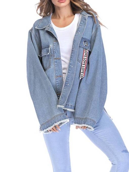 Loose Fit Plus Size BF Style Women's Denim Jacket