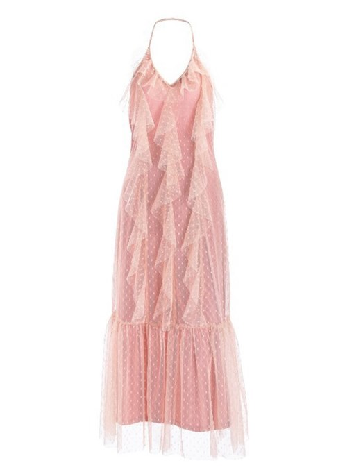 Pink Falbala Women's Maxi Dress