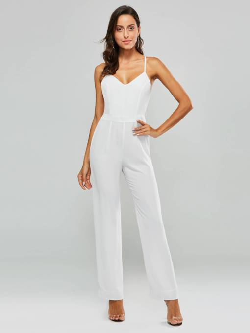 Cross Backless Strap Women's Jumpsuit
