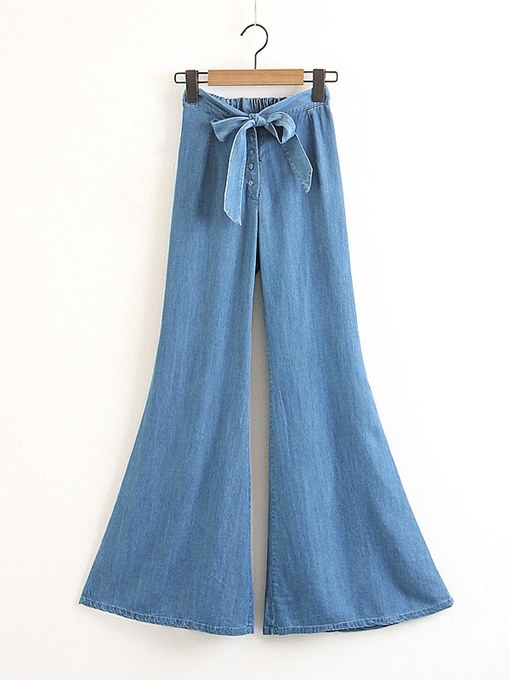 Denim Bow Tie Bell Bottom Women's Jeans
