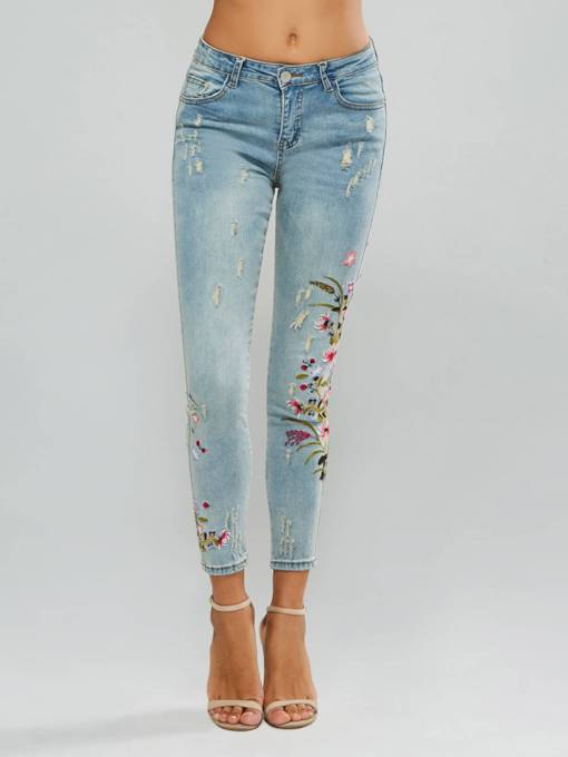 Floral Embroidery Hole Ripped Women's Jeans