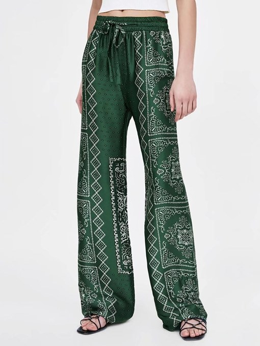 Loose Straight Print Tie Front Women's Pants