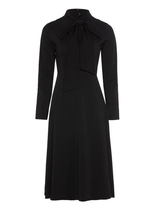Plain Tie Neck Women's Long Sleeve Dress