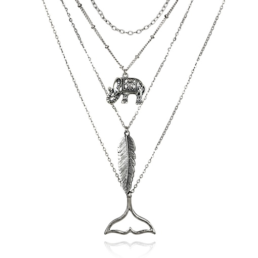 Feather Elephant Fish Tail Multilayer Necklace