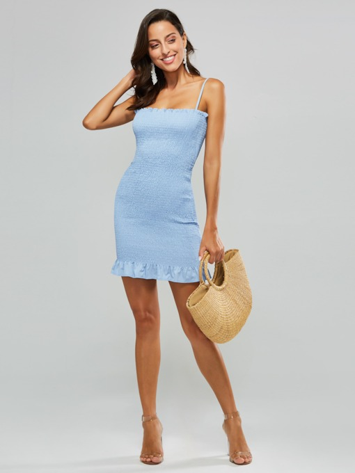 Blue Strappy Women's Sexy Dress