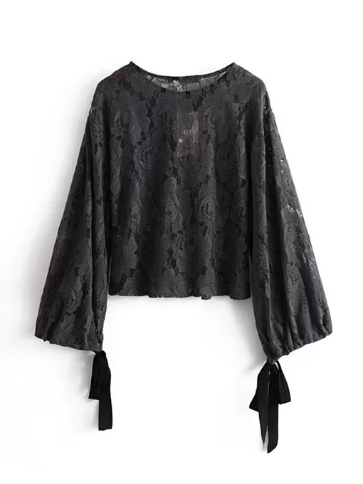 Tie Sleeve Lace Patchwork Round Neck Women's Blouse