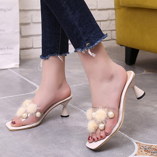 Shaped Heel Beads Pompon Cute Flip Flop for Women