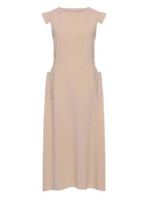 Light Apricot Pockets Women's Maxi Dress