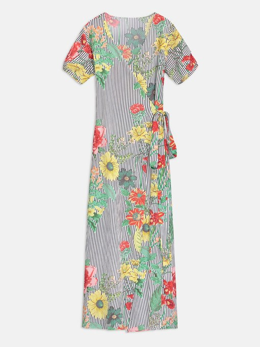 V Neck Short Sleeve Prints Women's Maxi Dress
