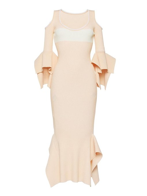 Plus Size Apricot Flare Sleeve Elegant Bodycon Dress