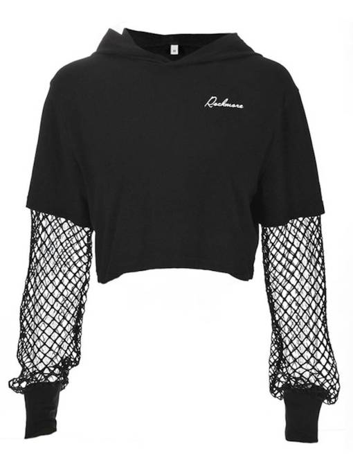 Fishnet Hollow Out Long Sleeve Women's Cropped Hoodie