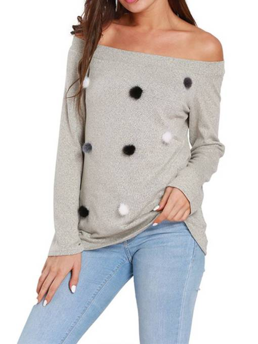 Loose Faux Fur Ball Slash Neck Women's Sweater