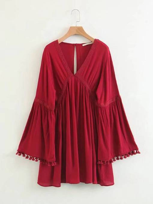 Bell Sleeve Red Women's Day Dress