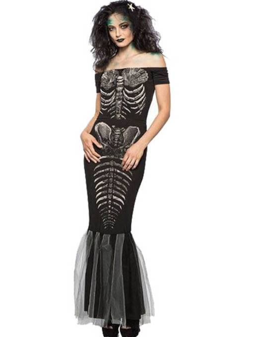 Slash Neck Skull Scary Halloween Costume Fishtail Skirt