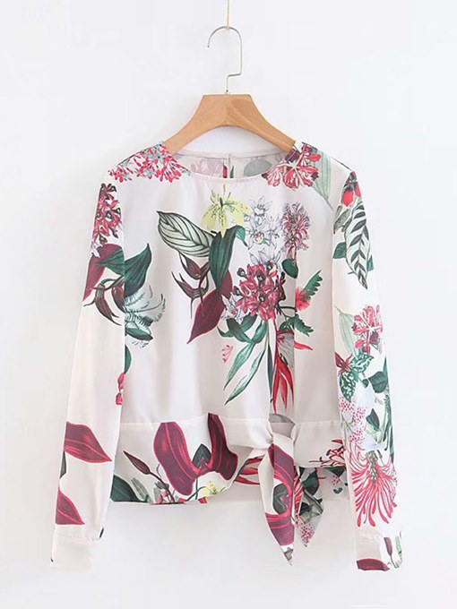 Floral Tie Wasit Long Sleeve Pullover Women's Blouse