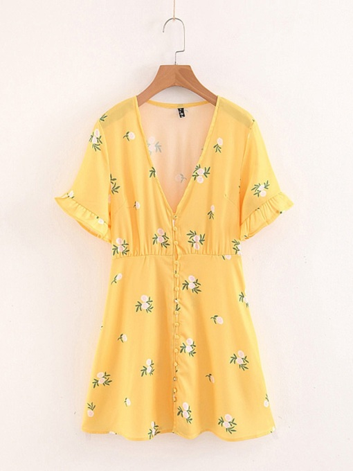 Short Sleeve Printing Floral A-Line Day Dress