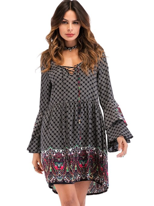Bell Sleeve Travel Look Prints Day Dress