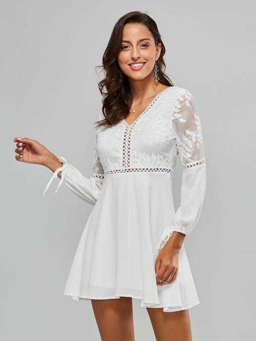 Hollow Long Sleeve Women's Day Dress
