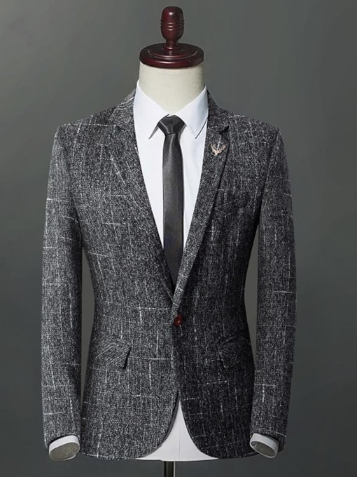Notched Collar One Button Classic Men's Blazer