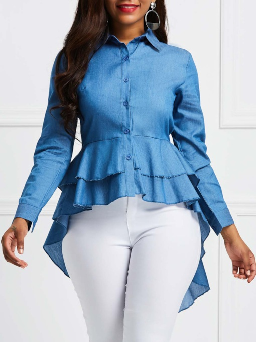 Falbala Asymmetric Mid Length Button Down Women's Shirt