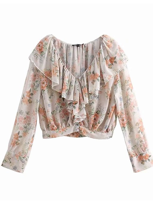 Layered Falbala Floral Long Sleeve Women's Blouse