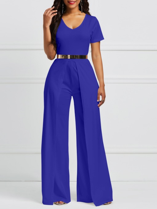 Full Length Plain Patchwork Office Lady Mid-Waist Women's Jumpsuit