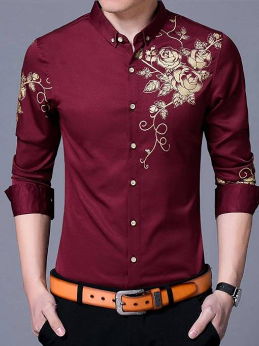 Floral Print Slim Fit Men's Leisure Shirt