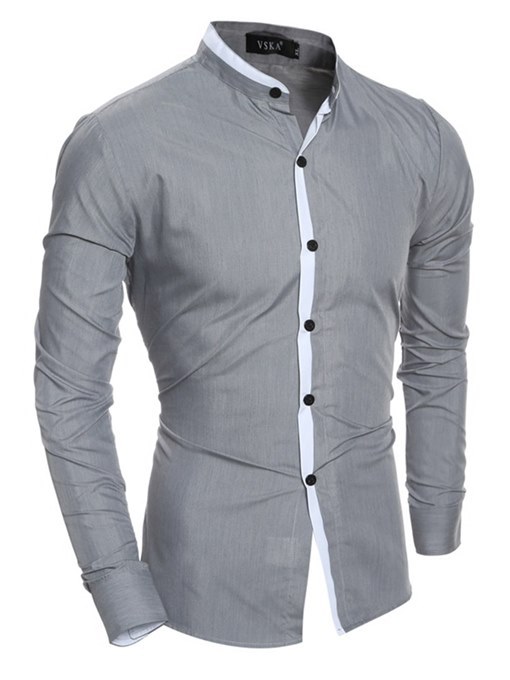 Color Block Slim Fit Men's Button Down Shirt