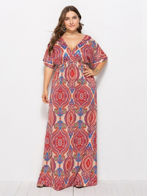 Plus Size Batwing Sleeve Floor-Length Maxi Dress