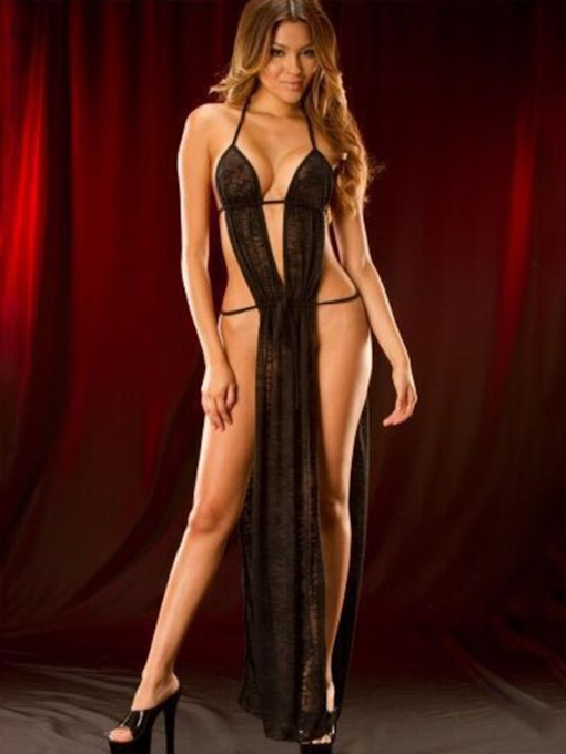 Halter Ankle-Length Slit Up Sexy Babydoll