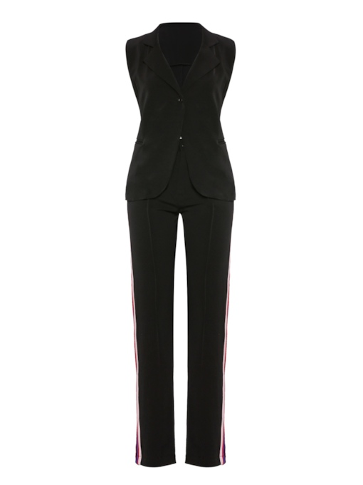 Striped Side Lapel Blazer and Pants Women's Suit