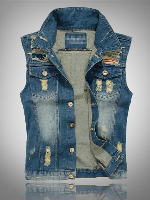 Worn Hole Slim Men's Denim Vest